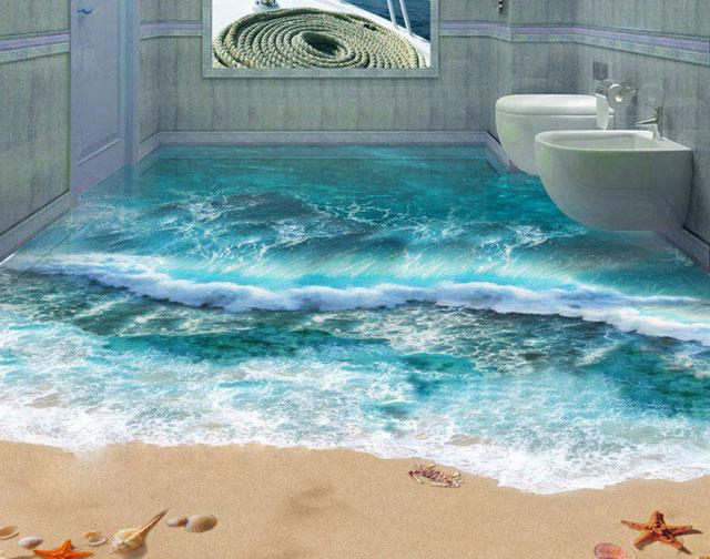 Красивая заливка пола в ванной