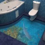 Наливной пол для ванной с акулой