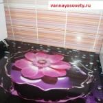 Наливные полы в ванной комнате с цветами