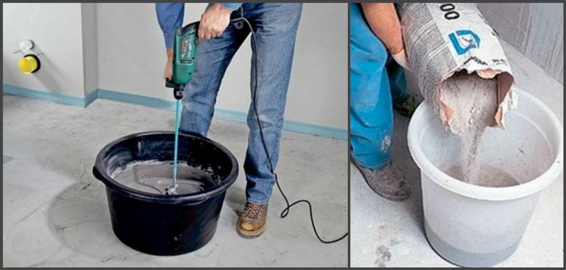 Приготовление смеси наливного пола