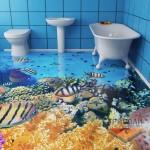 Рыбы на полу в ванной
