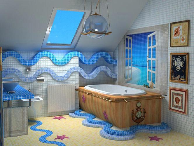 морской дизайн с 3d плиткой