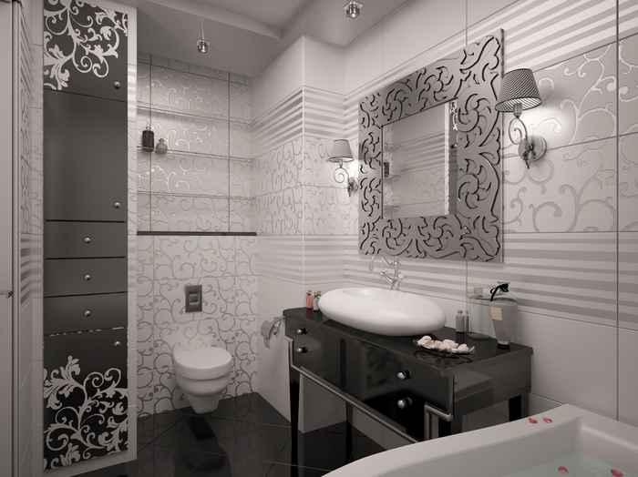 Дизайн ванной 2на2 со шкафом-колонкой