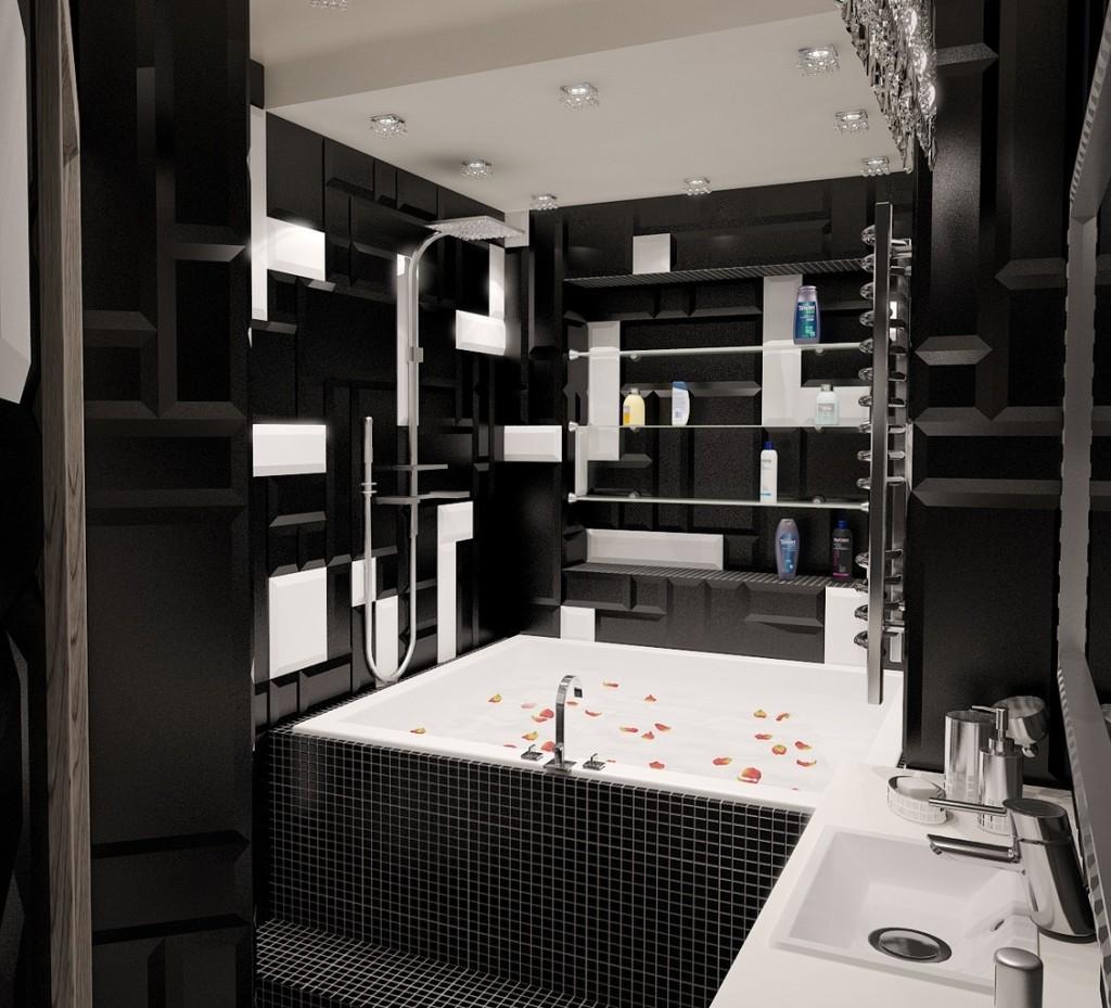 Дизайн ванной 2на2 в черном цвете