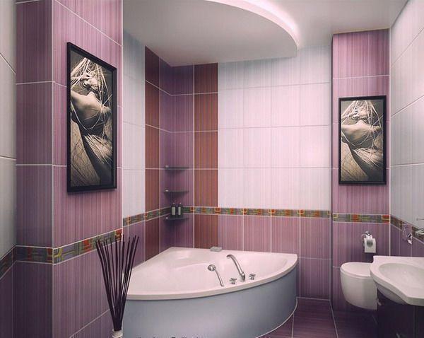 Дизайн ванной 2на2 в сиреневых тонах