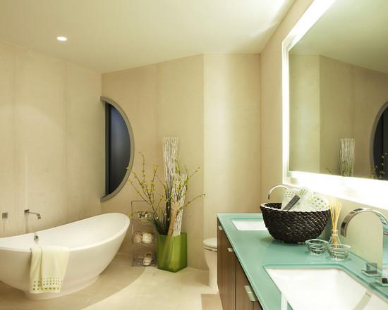 Идея для ванной комнаты с подсветкой зеркала