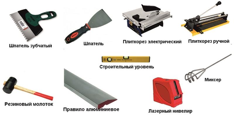Иструмены для укладки плитки на стену