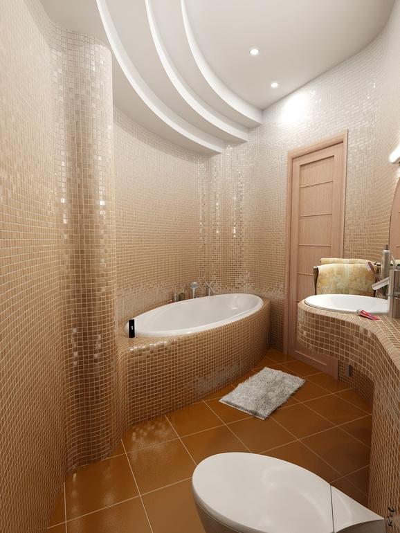 Каскадный потолок в ванной