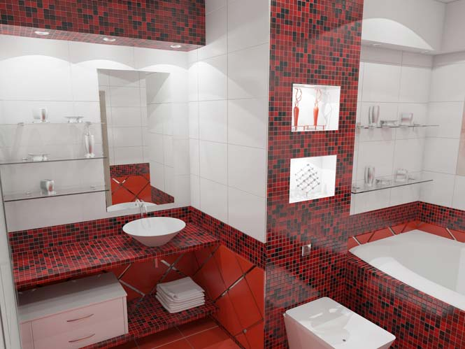 Контрастная мозаика в дизайне ванной