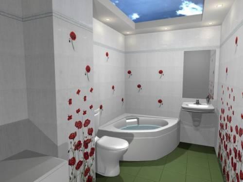Маки в ванной комнате 2 на 2 м