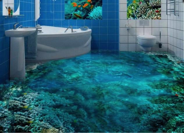 Необычные 3d полы для ванной