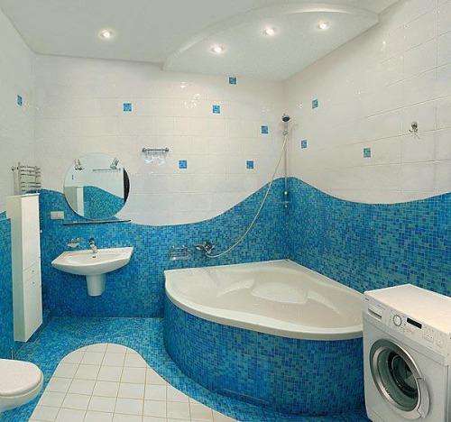 Облицовка мозаикой небольшой ванной