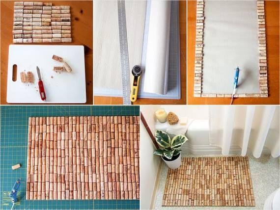 Процесс изготовления коврика в ванную из пробок