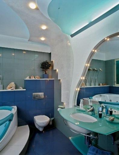 Разноуровневый потолок в ванной
