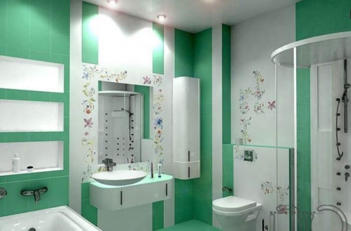 Романтичная ванная комната в зеленом цвете