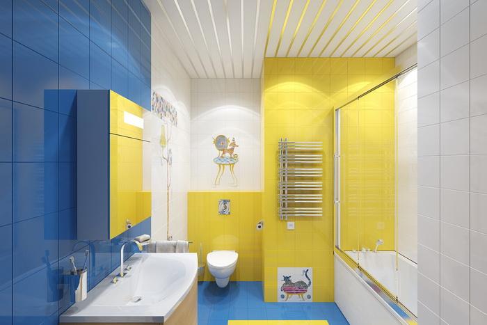 Сочетание желтого и синего цветов в дизайне ванной