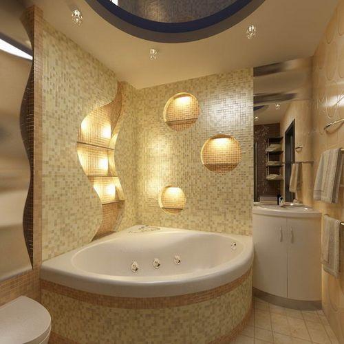 Угловая ванна в комнате 2 на 2 метра