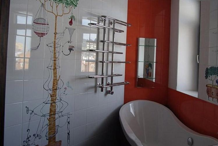 Японские мотивы в небольшой ванной