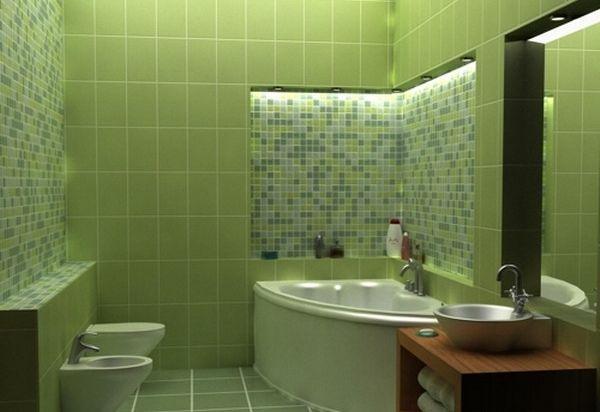 Зеленая ванная комната 2 на 2 м
