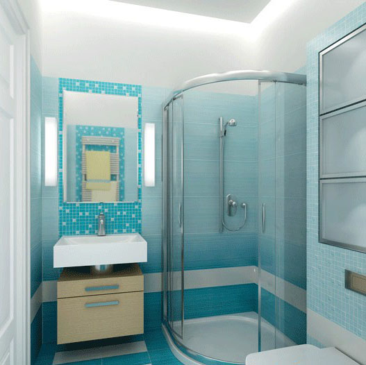 дизайн небольшой ванной в голубом
