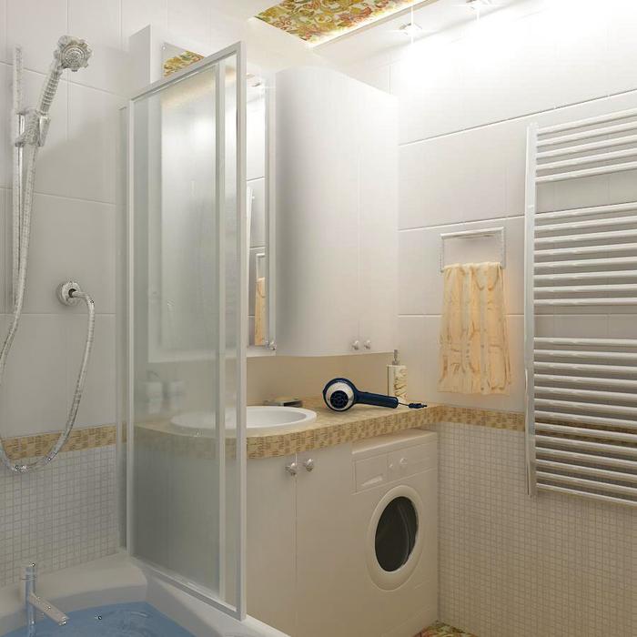 стиральная машинка под раковиной в ванной 3 кв м