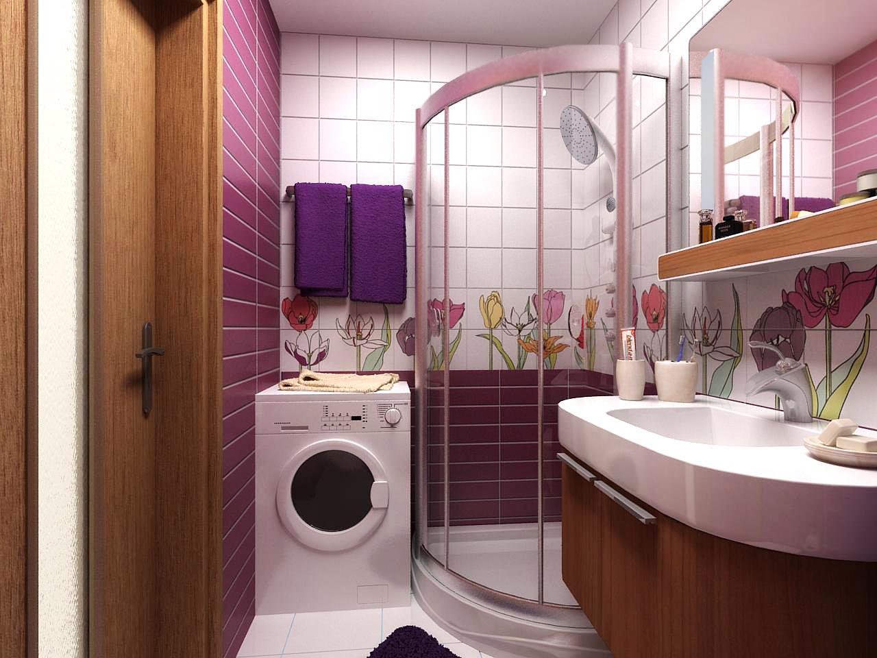 яркий дизайн ванной комнаты 3 кв м