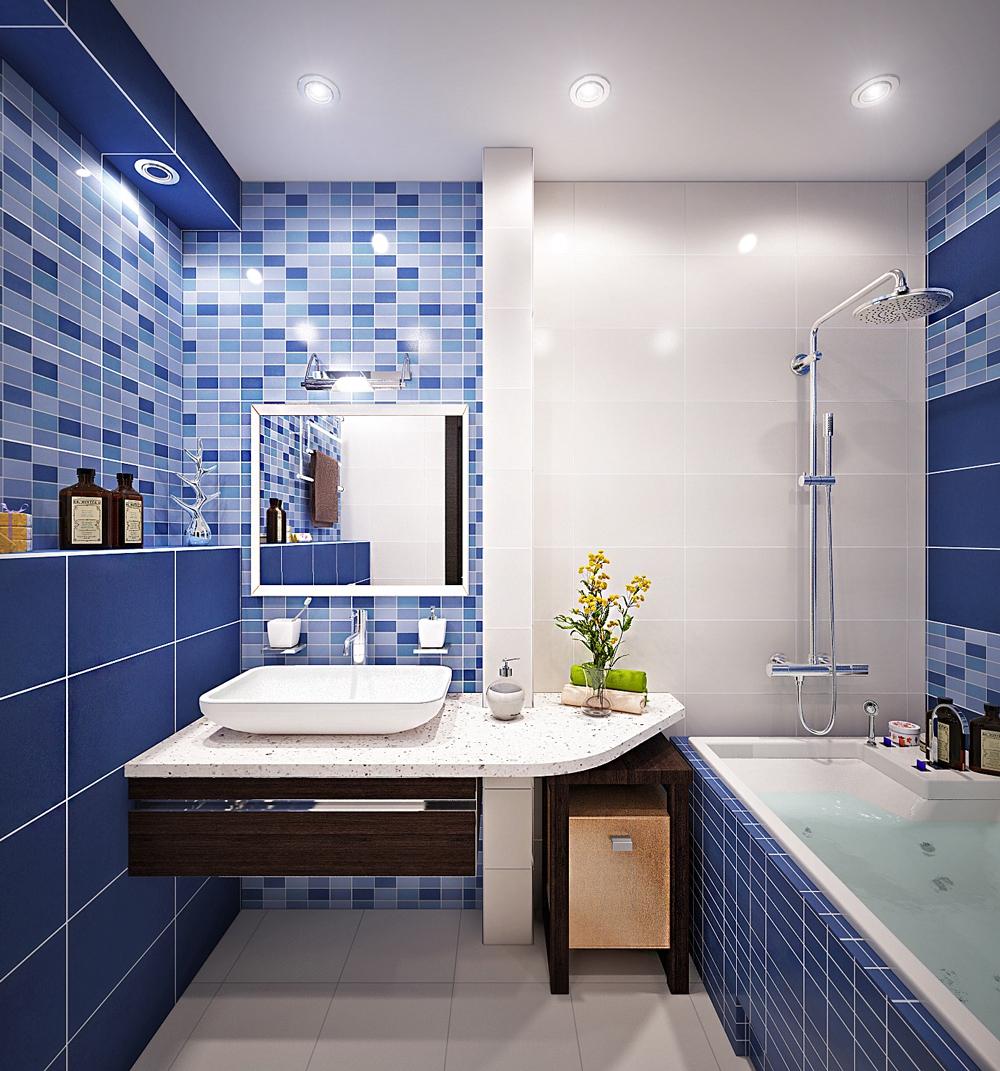 отделка ванной комнаты с нишей и верхней подсветкой
