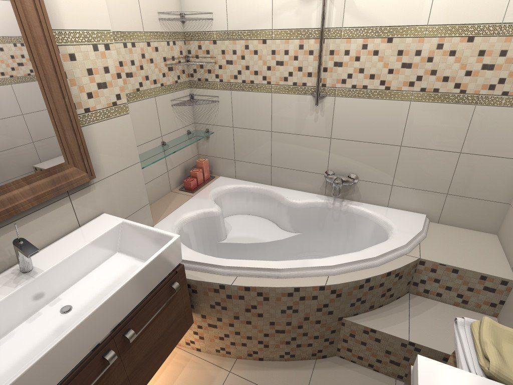 угловая ванна со ступеньками в небольшой ванной