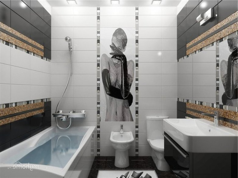 контрастное сочетание цветов в небольшой ванной