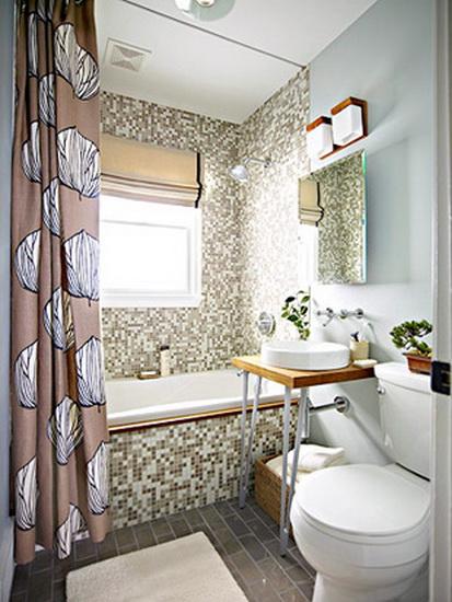 необычная раковина в маленькой ванной