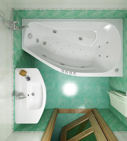 ванна нестандартной формы для маленькой комнаты