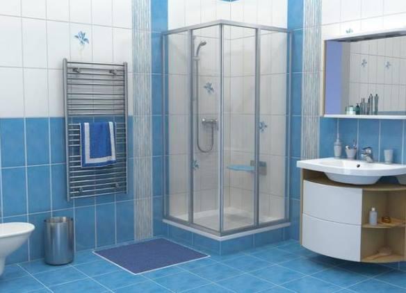 Белое синяя ванная комната с душевой кабинкой