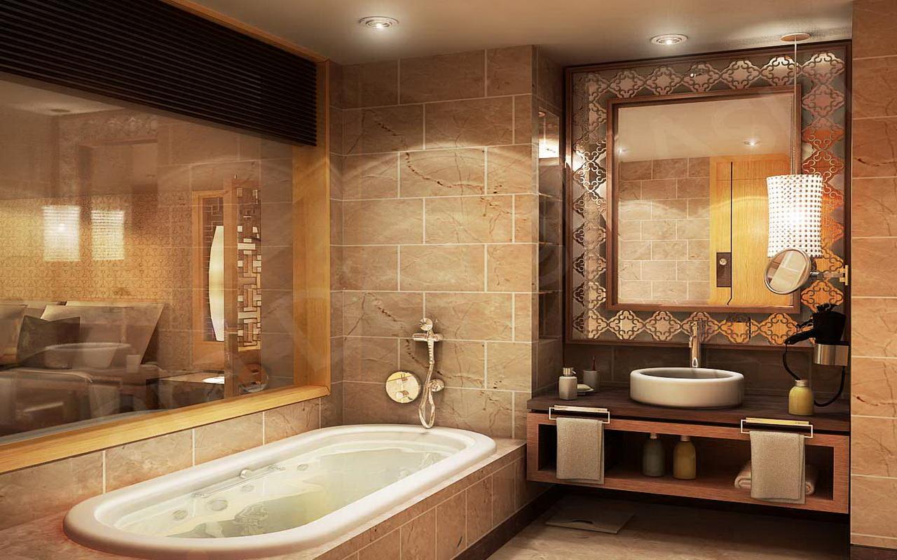 Бежево коричневая ванная
