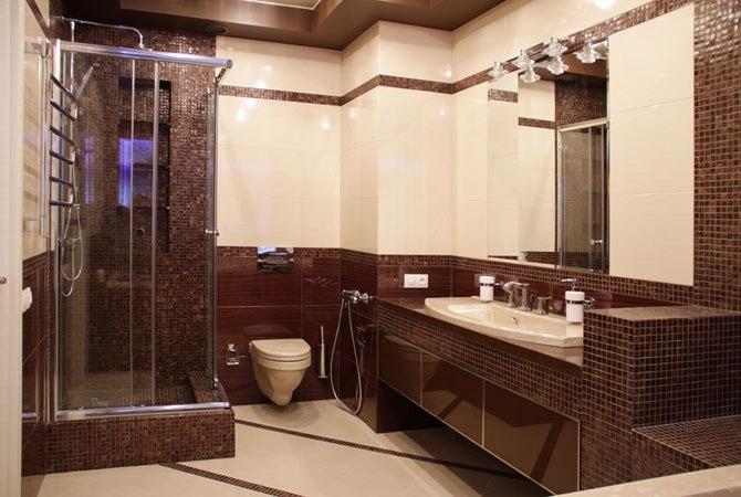 Бежево коричневое оформление ванной