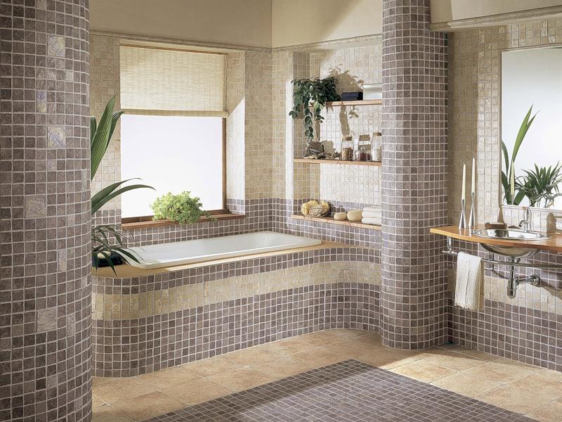 Бежево-серая ванная