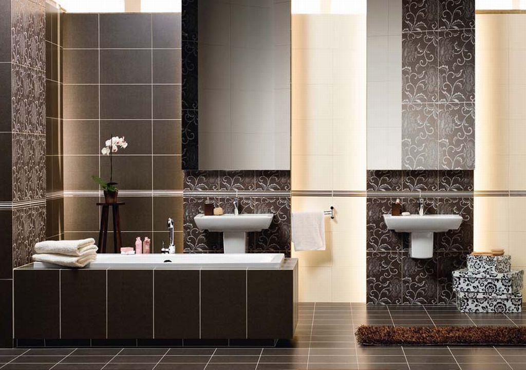 Черно-белая плитка в оформлении ванной