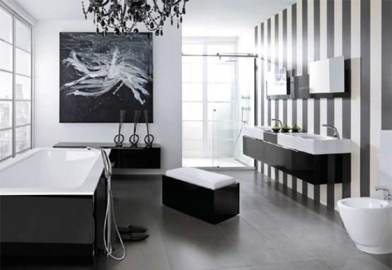 Черно белое оформление ванной комнаты