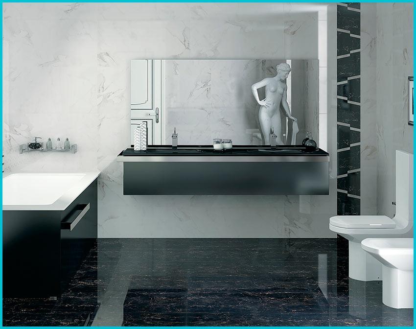 Черный пол в черно белой ванной