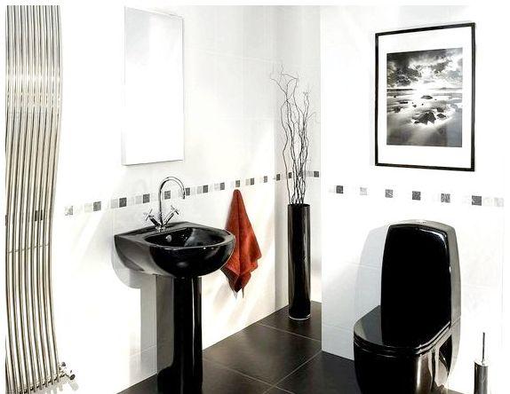 Черный умывальник в ванной комнате