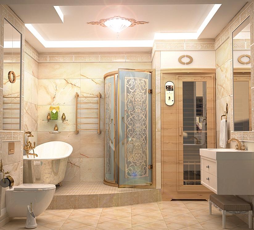 Дизайн комнаты совмещающей ванну и душевую кабину