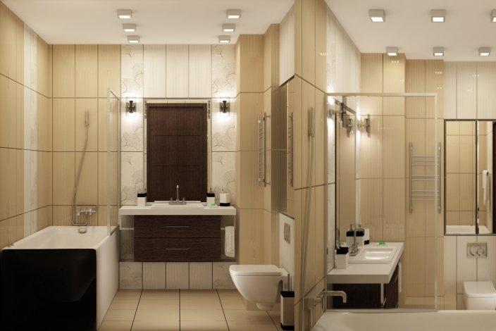 Дизайн ванной в бежево коричневых тонах