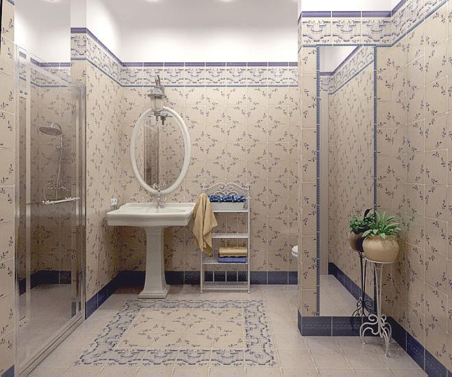 Душевая в ванной в стиле прованс