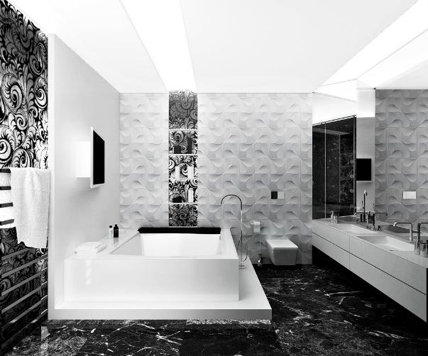 Фото черно белой ванной