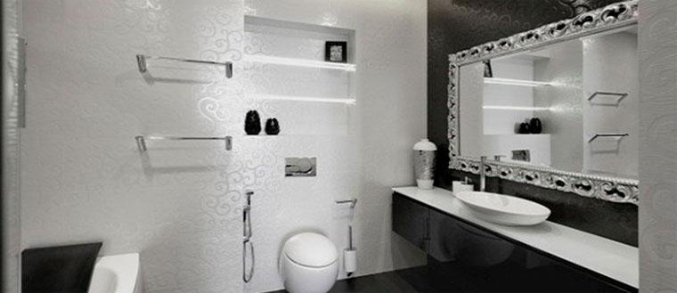 Гламурная черно-белая ванная комната