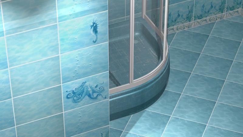 Голубая плитка в формлении ванной