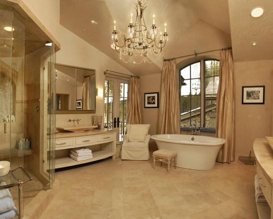 Интерьер ванной в бежевом цвете