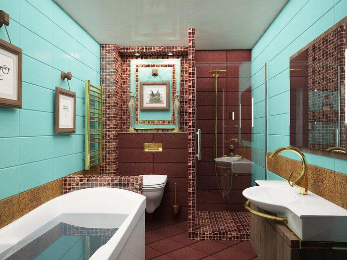 Интересное сочетание цветов плитки в ванной с душевой