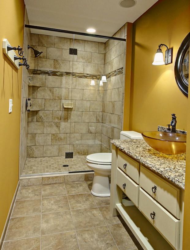 Кремовые тона ванной комнаты