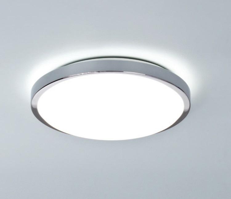 Круглый светильник в ванной