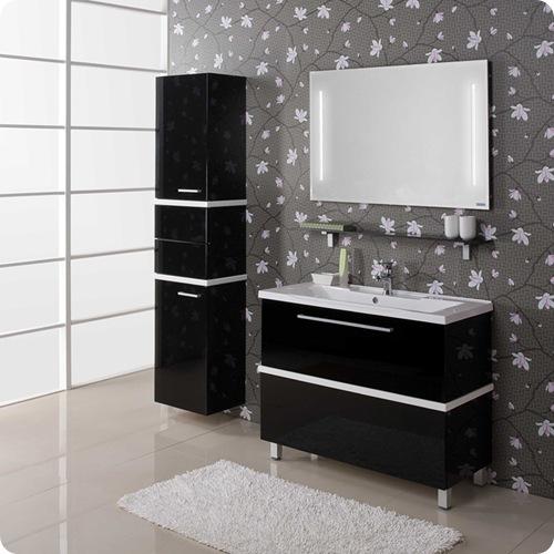Мебель в черно белую ванную комнату